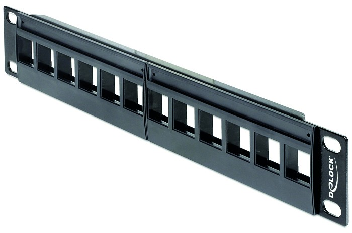 """12-Port Patchpanel für 10"""" Serverschrank - Frontansicht"""