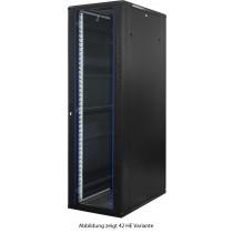 18 HE Serverschrank - 1000mm tief - schwarz - Frontansicht