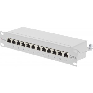 "1 HE, 10"", Cat 6, Patchpanel, 12- Port RJ45 geschirmt"
